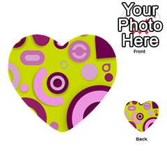 Florescent Yellow Pink Abstract  Multi-purpose Cards (Heart)