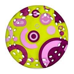 Florescent Yellow Pink Abstract  Round Filigree Ornament (2Side)