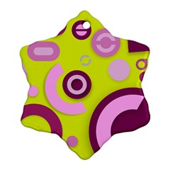 Florescent Yellow Pink Abstract  Snowflake Ornament (2 Side)