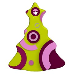 Florescent Yellow Pink Abstract  Christmas Tree Ornament (2 Sides)
