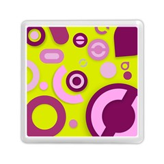 Florescent Yellow Pink Abstract  Memory Card Reader (Square)