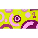 Florescent Yellow Pink Abstract  BEST SIS 3D Greeting Card (8x4)  Back