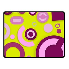 Florescent Yellow Pink Abstract  Double Sided Fleece Blanket (Small)