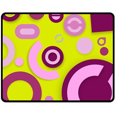 Florescent Yellow Pink Abstract  Double Sided Fleece Blanket (Medium)