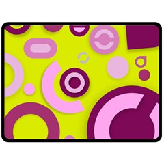 Florescent Yellow Pink Abstract  Double Sided Fleece Blanket (Large)