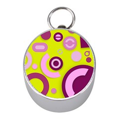 Florescent Yellow Pink Abstract  Mini Silver Compasses