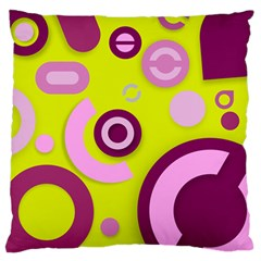 Florescent Yellow Pink Abstract  Large Flano Cushion Cases (One Side)