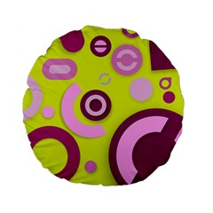 Florescent Yellow Pink Abstract  Standard 15  Premium Flano Round Cushions