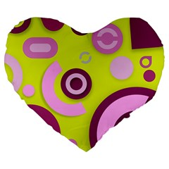 Florescent Yellow Pink Abstract  Large 19  Premium Flano Heart Shape Cushions