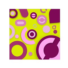 Florescent Yellow Pink Abstract  Small Satin Scarf (square)