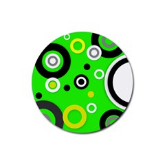 Florescent Green Yellow Abstract  Rubber Round Coaster (4 Pack)