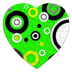 Florescent Green Yellow Abstract  Jigsaw Puzzle (heart)