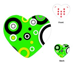 Florescent Green Yellow Abstract  Playing Cards (heart)