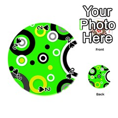 Florescent Green Yellow Abstract  Playing Cards 54 (Round)