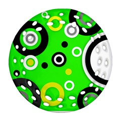 Florescent Green Yellow Abstract  Ornament (Round Filigree)