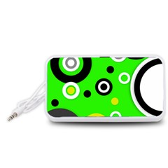 Florescent Green Yellow Abstract  Portable Speaker (White)