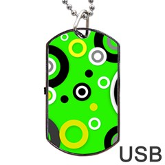 Florescent Green Yellow Abstract  Dog Tag Usb Flash (one Side)