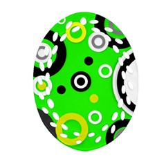 Florescent Green Yellow Abstract  Ornament (oval Filigree)