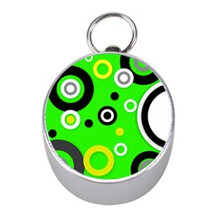 Florescent Green Yellow Abstract  Mini Silver Compasses