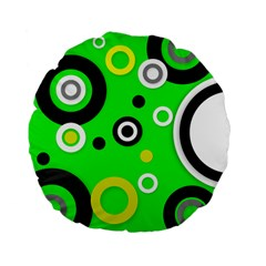 Florescent Green Yellow Abstract  Standard 15  Premium Flano Round Cushions
