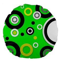 Florescent Green Yellow Abstract  Large 18  Premium Flano Round Cushions