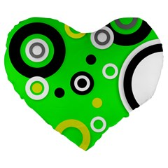 Florescent Green Yellow Abstract  Large 19  Premium Flano Heart Shape Cushions