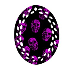 Purple Skulls  Oval Filigree Ornament (2 Side)