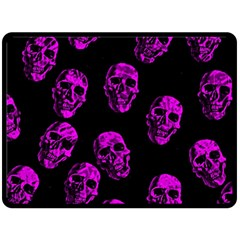 Purple Skulls  Double Sided Fleece Blanket (large)