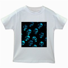 Skulls Blue Kids White T Shirts