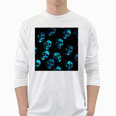 Skulls Blue White Long Sleeve T Shirts