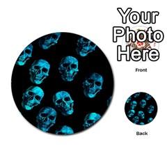 Skulls Blue Multi Purpose Cards (round)