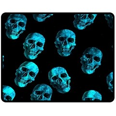 Skulls Blue Fleece Blanket (medium)