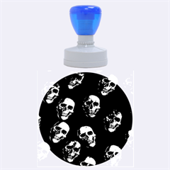 Skulls Blue Rubber Round Stamps (Large)
