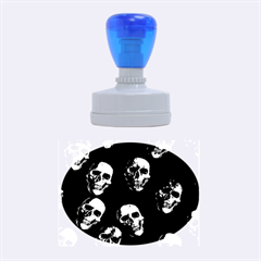Skulls Blue Rubber Oval Stamps