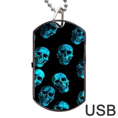 Skulls Blue Dog Tag USB Flash (One Side)