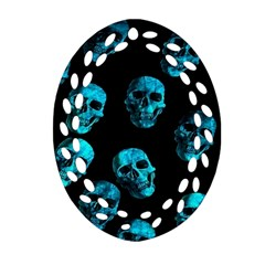 Skulls Blue Ornament (Oval Filigree)