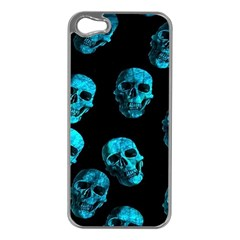 Skulls Blue Apple Iphone 5 Case (silver)