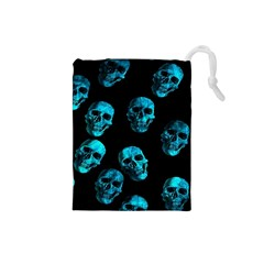 Skulls Blue Drawstring Pouches (small)