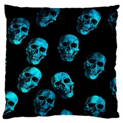 Skulls Blue Standard Flano Cushion Cases (one Side)