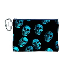 Skulls Blue Canvas Cosmetic Bag (M)