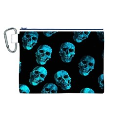 Skulls Blue Canvas Cosmetic Bag (L)