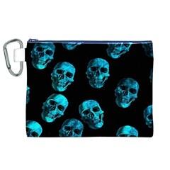 Skulls Blue Canvas Cosmetic Bag (XL)