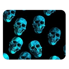 Skulls Blue Double Sided Flano Blanket (large)