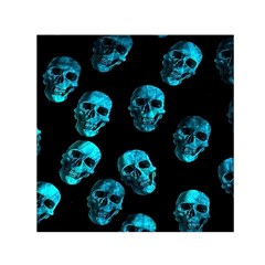 Skulls Blue Small Satin Scarf (Square)