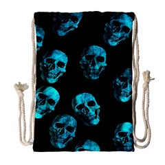 Skulls Blue Drawstring Bag (Large)