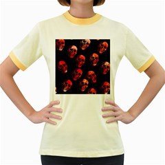 Skulls Red Women s Fitted Ringer T-Shirts
