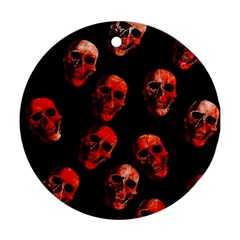 Skulls Red Round Ornament (two Sides)