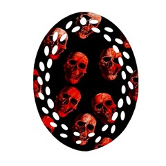 Skulls Red Ornament (oval Filigree)