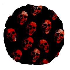 Skulls Red Large 18  Premium Flano Round Cushions