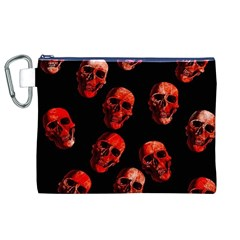 Skulls Red Canvas Cosmetic Bag (XL)